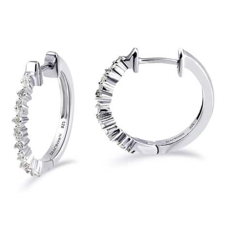 Diamond Sterling Silver Baguettes, Round Hoop Earrings by Diacrown