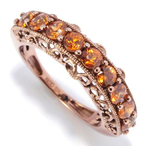 18K Chocolate Gold O/ Silver 1.14Ctw Andalusite Nine Stone Band Ring