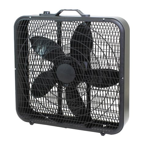 "Comfort Zone CZ200ABK 20"" 3-Speed Box Fan for Full-Force Air Circulation with Air Conditioner, Black"