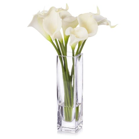 Enova Home Cream Real Touch Calla Lily Flower Arrangement in Clear Glass Vase with Faux Water For Home Office Decoration