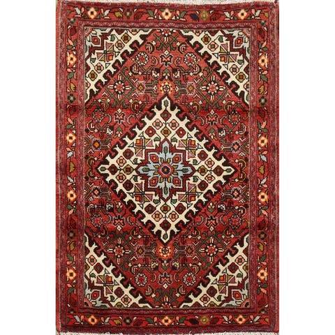 "Geometric Tribal Hamedan Persian Kitchen Area Rug Hand-Knotted Carpet - 3'3"" x 4'9"""