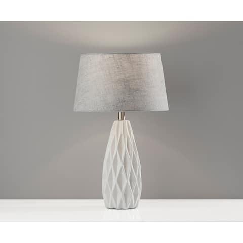 Adesso Joan Geometric White Table Lamp 2pc Set