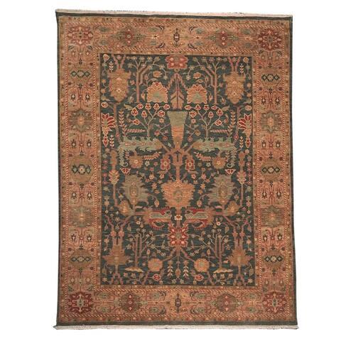 10x14 Seaweed Green, Rust, Aqua Color Hand Knotted Persian 100% Wool Oushak Stunning Geometric Traditional Oriental Rug