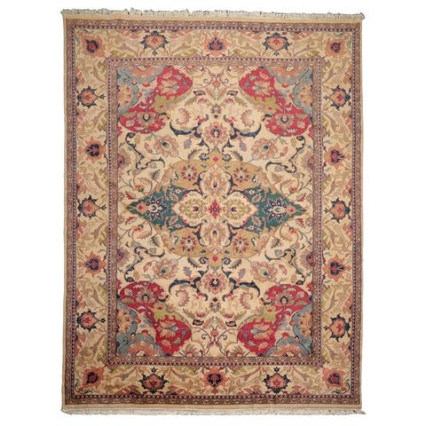 10x14 Beige, Green, Tan Color Hand Knotted Persian 100% Wool Arts and Craft Bold Patterns Traditional Oriental Rug