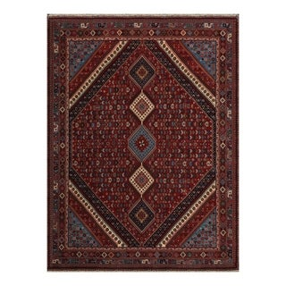 8x10 Hand Knotted Rust, Blue, Ivory Color Persian 100% Wool Yalameh Medallion Design Traditional Oriental Rug - 8' x 10'