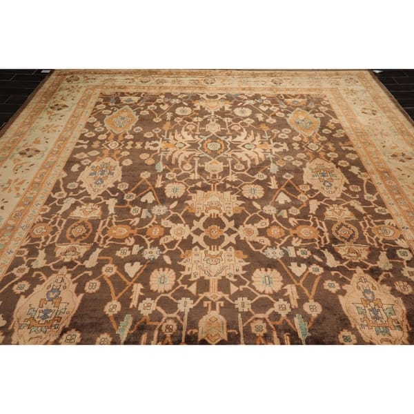 10x14 Hand Knotted Brown Beige Rust Color Persian 100 Wool Oushak Traditional Oriental Rug 10 2 X 13 10 Overstock 30841758