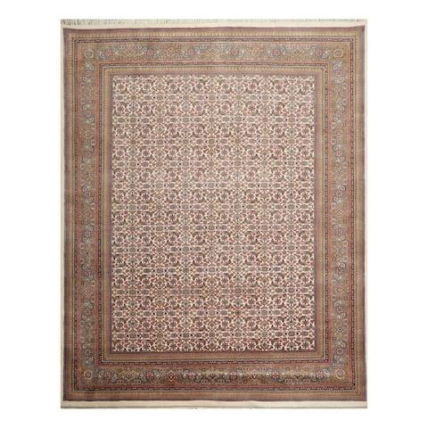 "8x10 Hand Knotted Cream, Blue, Rust Color Persian 100% Wool Herati Mahi Traditional 200 KPSI Oriental Rug - 7'10"" x 9'11"""