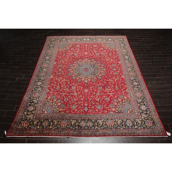 9x12 Hand Knotted Red With Orange Undertones Navy Ivory Color Persian 100 Wool Medallion Traditional 250 Kpsi Oriental Rug On Sale Overstock 30841766