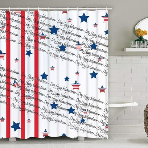 "Polyester Shower Curtain with Hooks Independence Day 70"" x 70"""