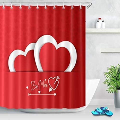 "Polyester Shower Curtain Valentine's Day Heart 72"" x 72"""