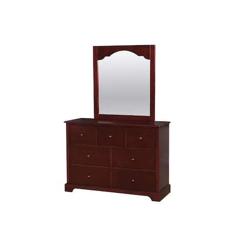 Wooden Dresser with 7 Drawers and Bracket Feet, Cherry Brown