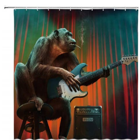 "Polyester Shower Curtain with Hooks Guitar Decor 70"" x 70"""