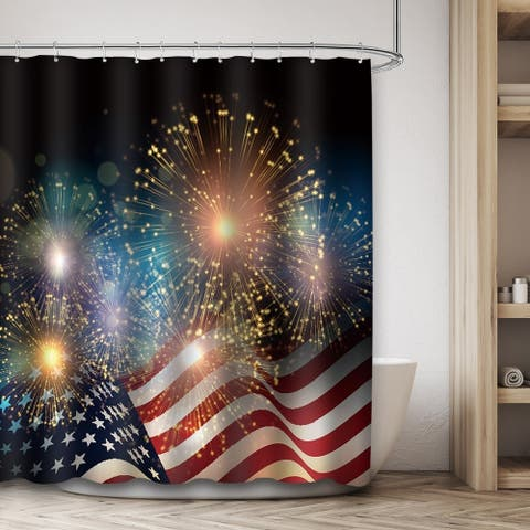 "Polyester Shower Curtain with Hooks 4th of July 72"" x 72"""
