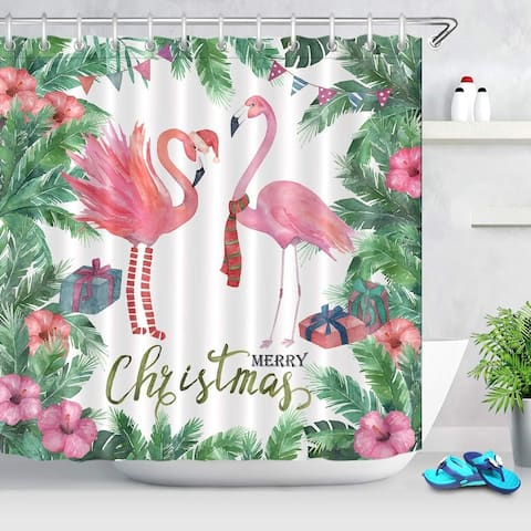 """Polyester Shower Curtain with Hooks Merry Christmas 72"""" x 72"""""""