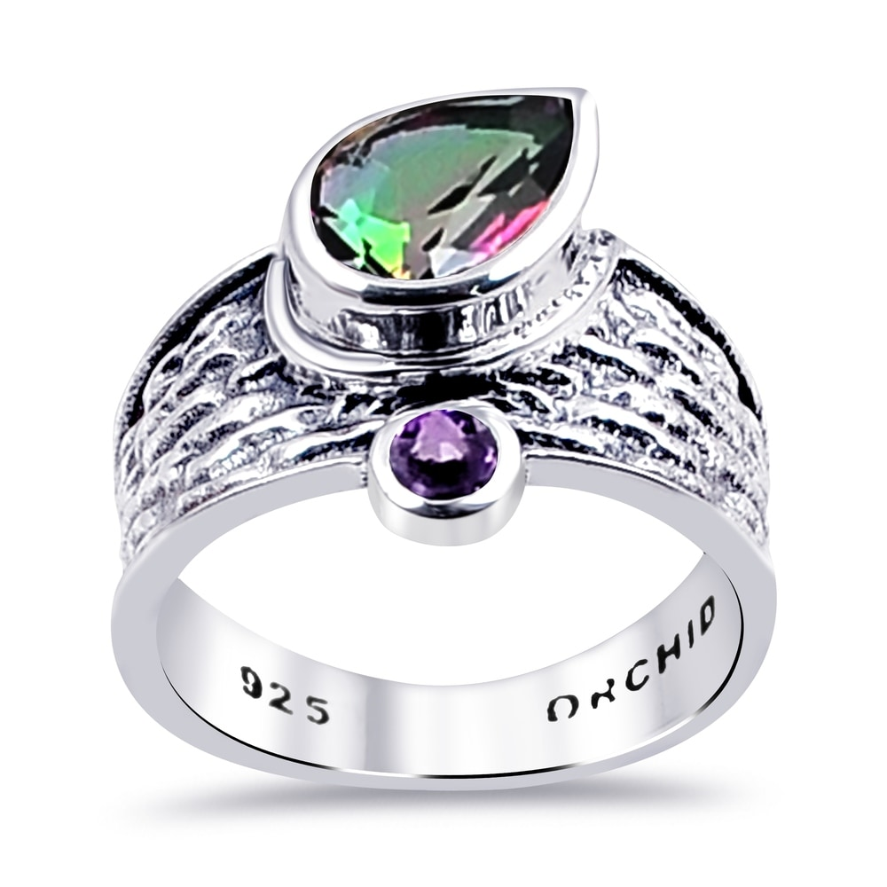 VERY PRETTY MYSTIC TOPAZ /& Heart Stones Ring ALL Genuine Sterling Silver Size 9