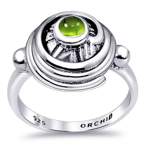 Peridot, Rhodonite Sterling Silver Round Band Rings by Orchid Jewelry