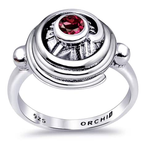 Peridot,Rhodonite Sterling Silver Round Band Rings by Orchid Jewelry