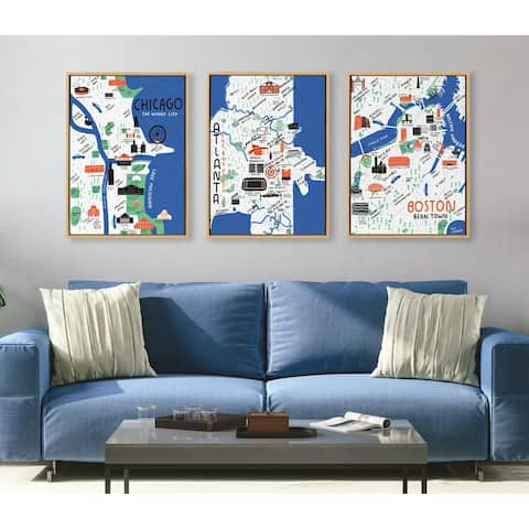 Kate and Laurel Sylvie Boston Framed Canvas by Stacie Bloomfield