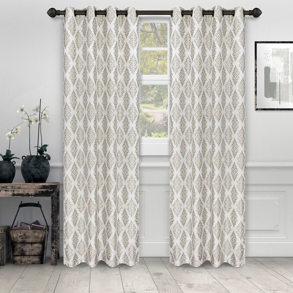 "Miranda Haus Labrea Damask Jacquard Grommet Curtain Panel in Gold - 52"" x 84"" - (Set of 2) (As Is Item). Opens flyout."