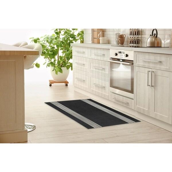 BAND BLACK & WHITE Kitchen Mat by Kavka Designs. Opens flyout.