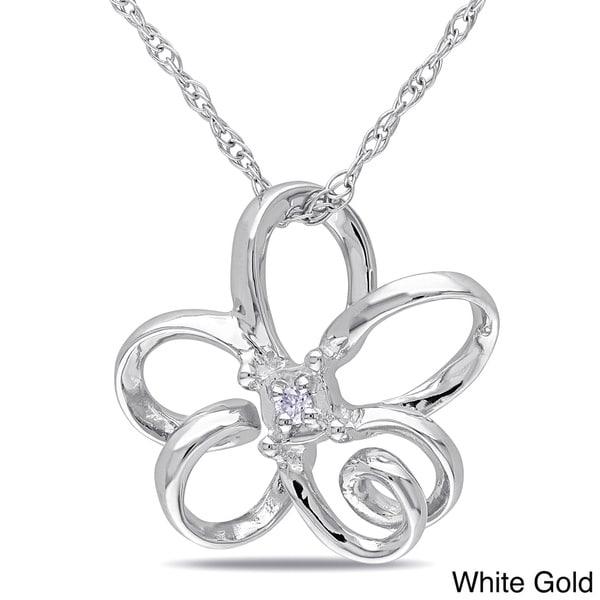 Miadora 10k Gold Diamond Accent Flower Necklace