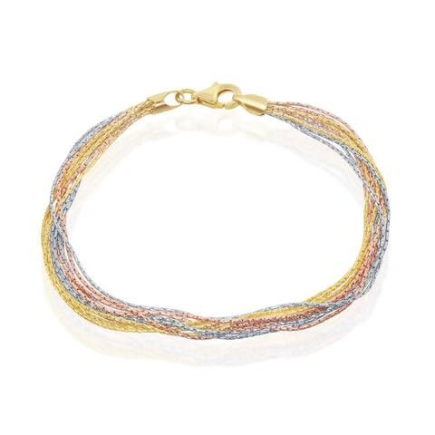 """La Preciosa 925 Sterling Silver Italian Tri-Colored Sparkling 10 Strand 7.5"""" Bracelet"""