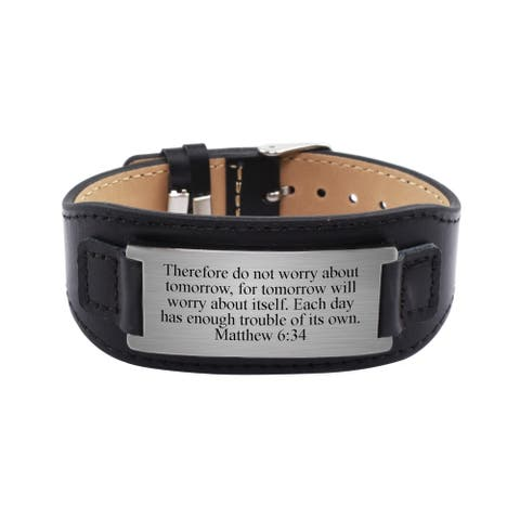 Genuine Leather Scripture Bracelet by Pink Box Matthew 6:34 Black