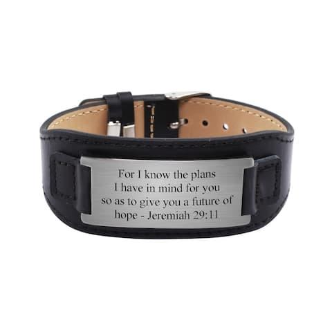 Genuine Leather Scripture Bracelet by Pink Box Jeremiah 29:11 Black