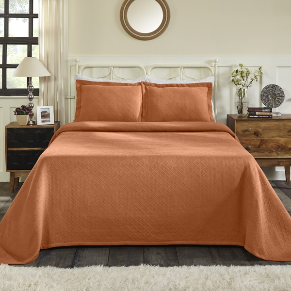 Superior Jacquard Matelasse Basket Cotton Twin Size Bedspread Set in Silver (As Is Item). Opens flyout.