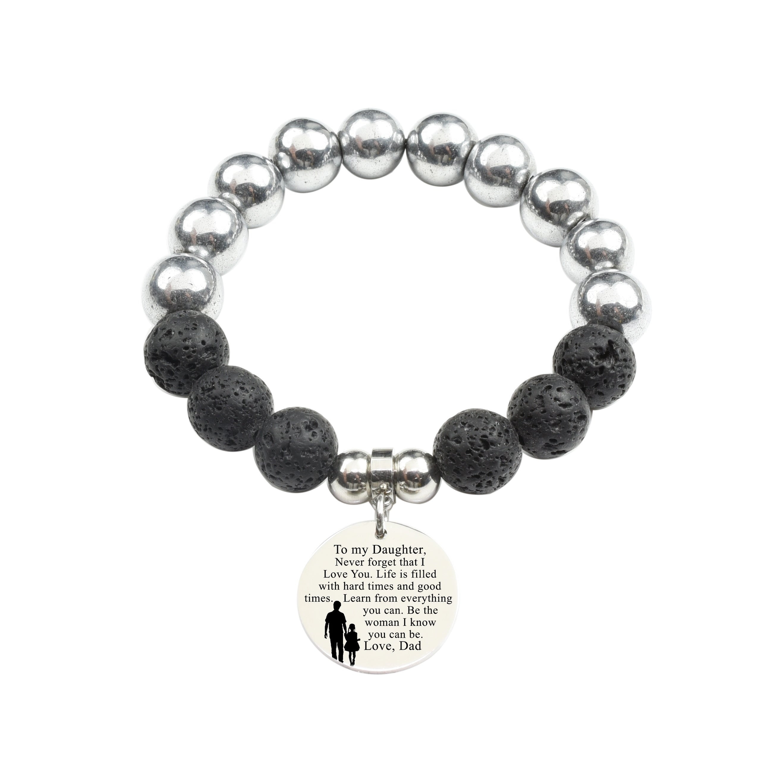 to Mom from Daughter Silver Pink Box Genuine 12Mm Lava and Hematite Mix Bracelet