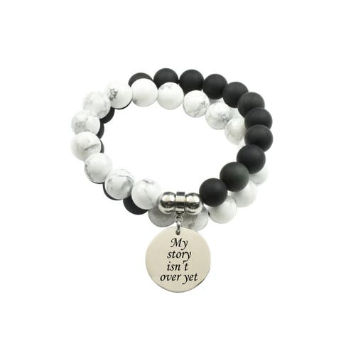Genuine 10mm Double Layer Obsidian Howlite Inspirational Bracelet by Pink Box My Story Isn't Over