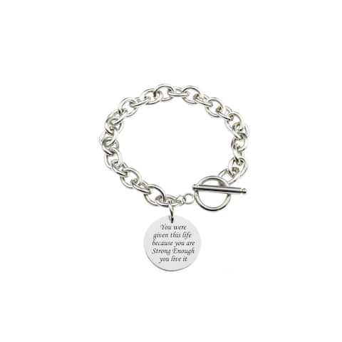Solid Stainless Steel Inspirational Toggle Bracelet by Pink Box Strong Enough