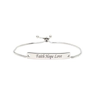 Link to Fully Adjustable Inspirational Slider Bracelet by Pink Box  FAITH HOPE LOVE Similar Items in Fashion Jewelry Store