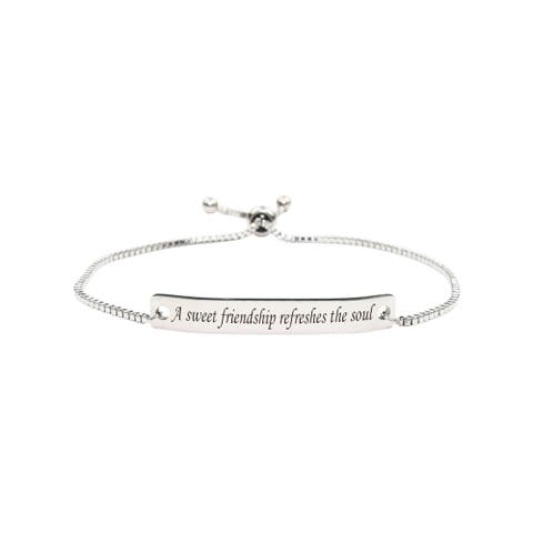 Fully Adjustable Inspirational Slider Bracelet by Pink Box SWEET FRIENDSHIP