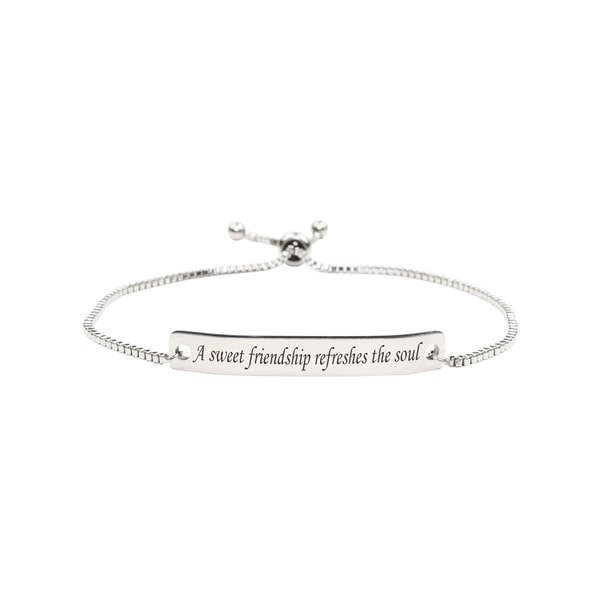 Fully Adjustable Inspirational Slider Bracelet by Pink Box SWEET FRIENDSHIP. Opens flyout.