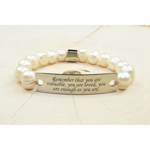 Freshwater Pearl Inspirational Bracelet by Pink Box REMEMBER