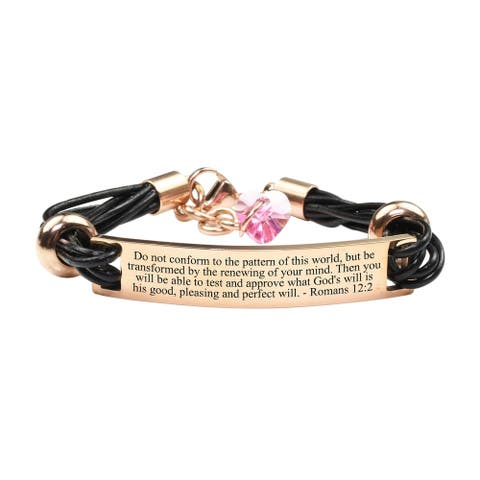 Pink Box Genuine Leather Scripture Bracelet with Crystals from Swarovski Romans 12:2 Rose Gold