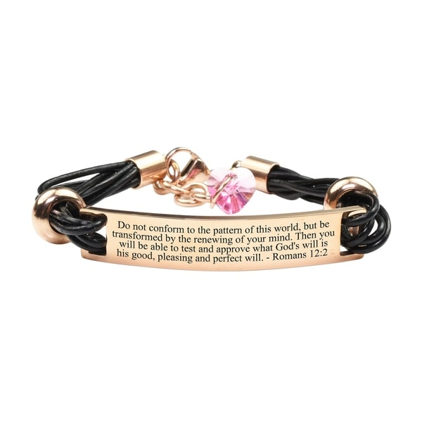 Pink Box Genuine Leather Scripture Bracelet with Crystals from Swarovski Romans 12:2 Rose Gold. Opens flyout.