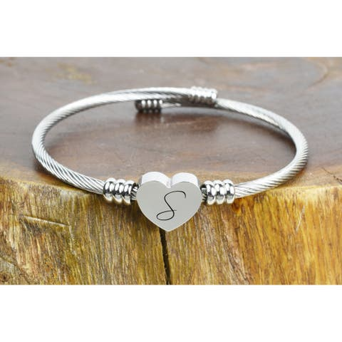 Heart Cable Initial Bracelet by Pink Box S