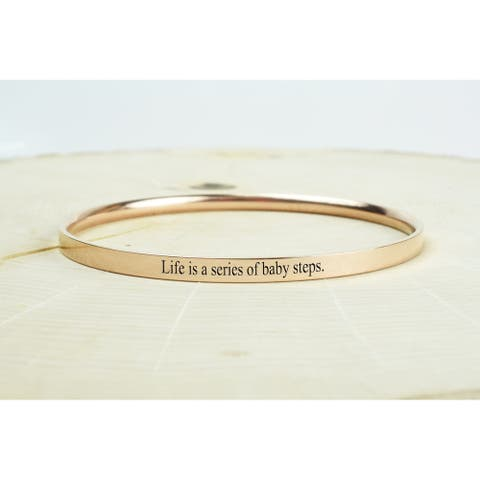 Comfort Fit Inspirational Bangles by Pink Box Baby Steps Rose Gold