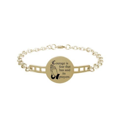 Fully Adjustable Inspirational Link Bracelet by Pink Box Courage is fear Gold