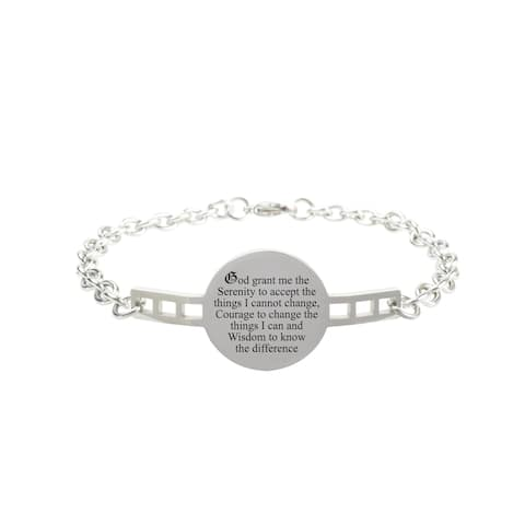 Fully Adjustable Inspirational Link Bracelet by Pink Box Serenity Prayer Silver