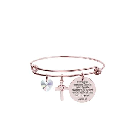 Pink Box Scripture Bangle Made with Crystals from Swarovski JOSHUA 1:9 Rose Gold