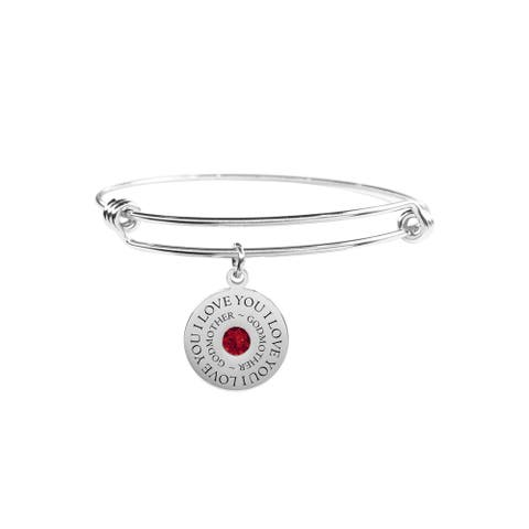 Round Inspirational Bangle Made with Crystals From Swarovski by Pink Box GODMOTHER SILVER