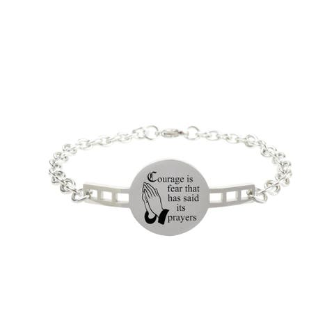 Fully Adjustable Inspirational Link Bracelet by Pink Box Courage is fear Silver