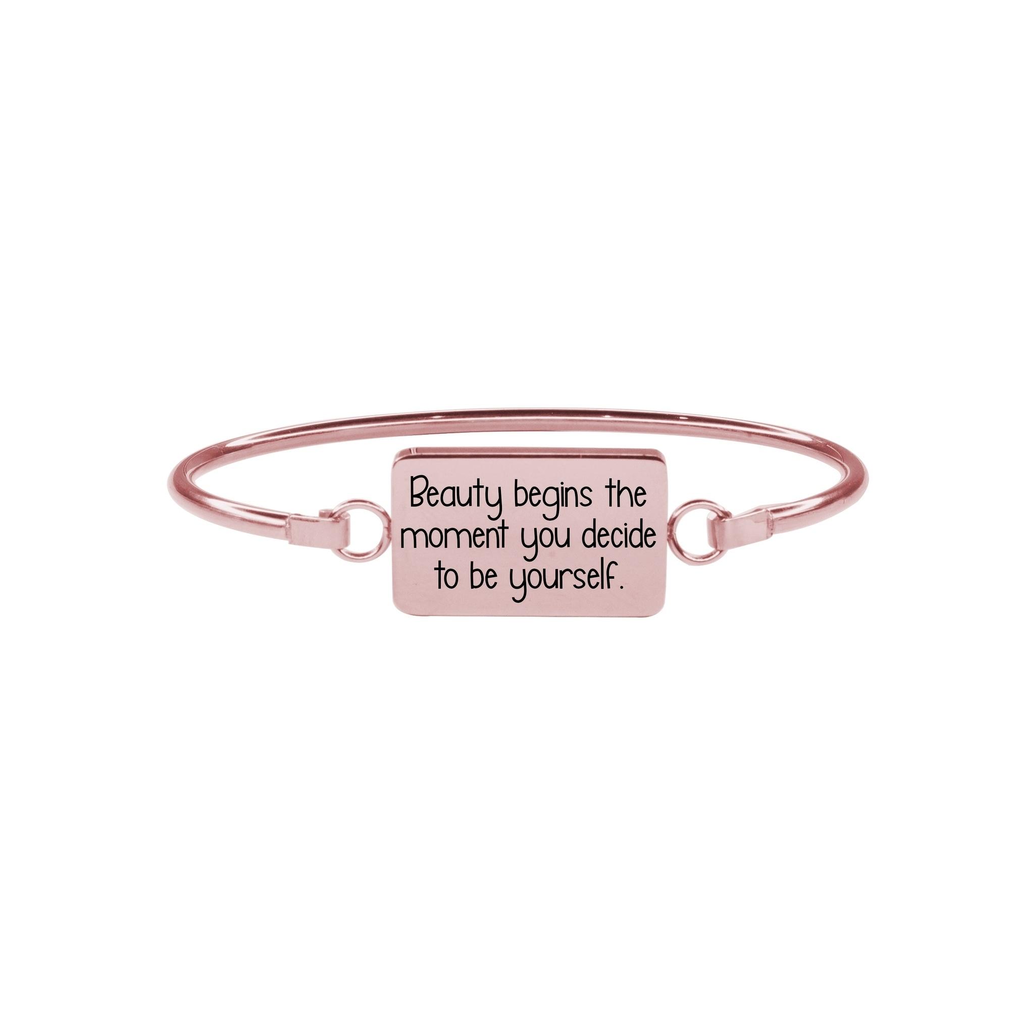 Beauty Begins Pink Box Inspirational Bar Bangle Silver