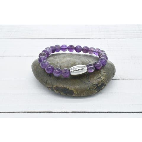 Genuine Amethyst Inspirational Beaded Bracelet by Pink Box Treasured