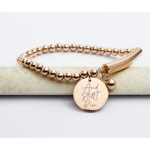 Beaded Bar Inspirational Stretch Bracelet by Pink Box and Still I Rise Rose Gold