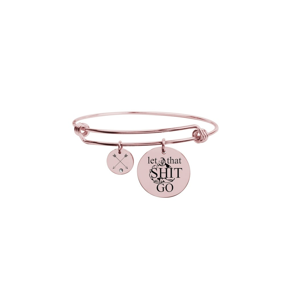 Pink Box Love Between Mother Initial Bangle with Cubic Zirconia Rose Gold Z