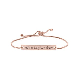 Dainty Inspirational Bolo Bracelet by Pink Box in My Heart Rose Gold
